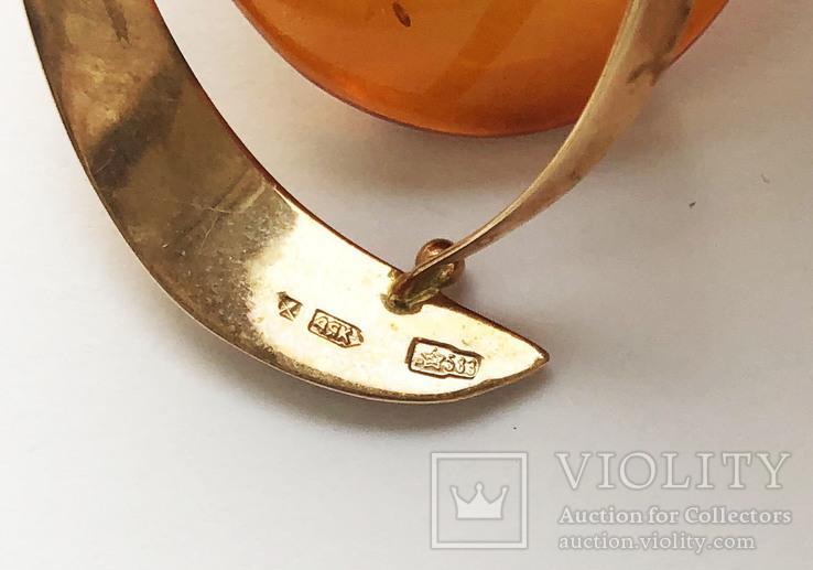Цепочка с подвеской и янтарем, золото 583 проба., фото №6