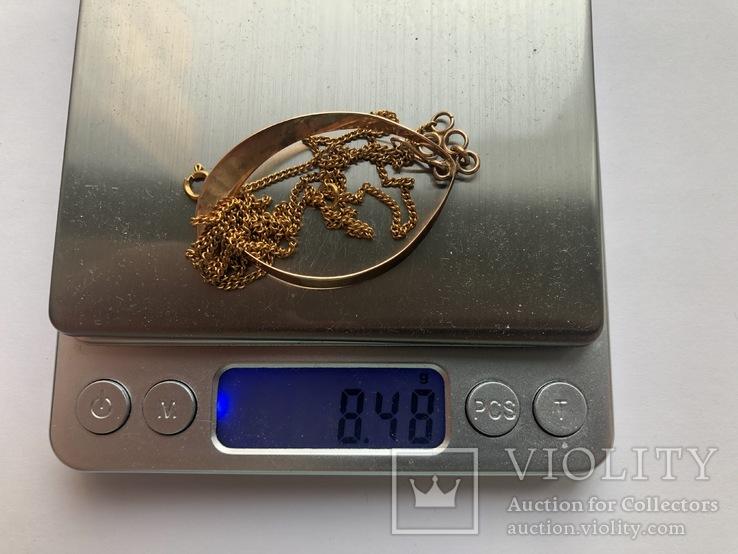 Цепочка с подвеской и янтарем, золото 583 проба., фото №8