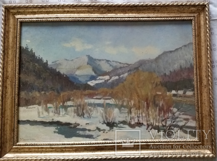 Л.Харламов (Карпати, зима) 1982, 34,8х49,7 см, фото №2