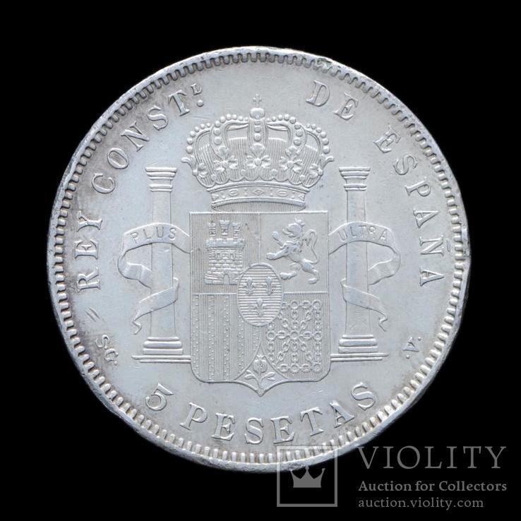 5 Песет 1898 Альфонсо XIII, Испания aUNC, фото №3