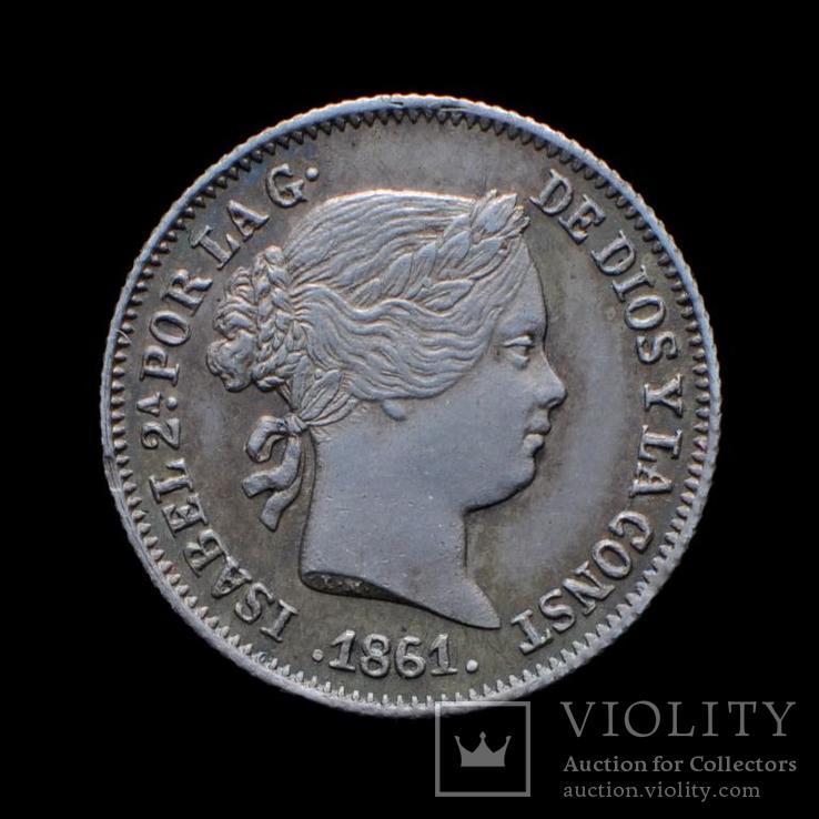 1 Реал 1861 Изабелла ІІ, Испания UNC, фото №2