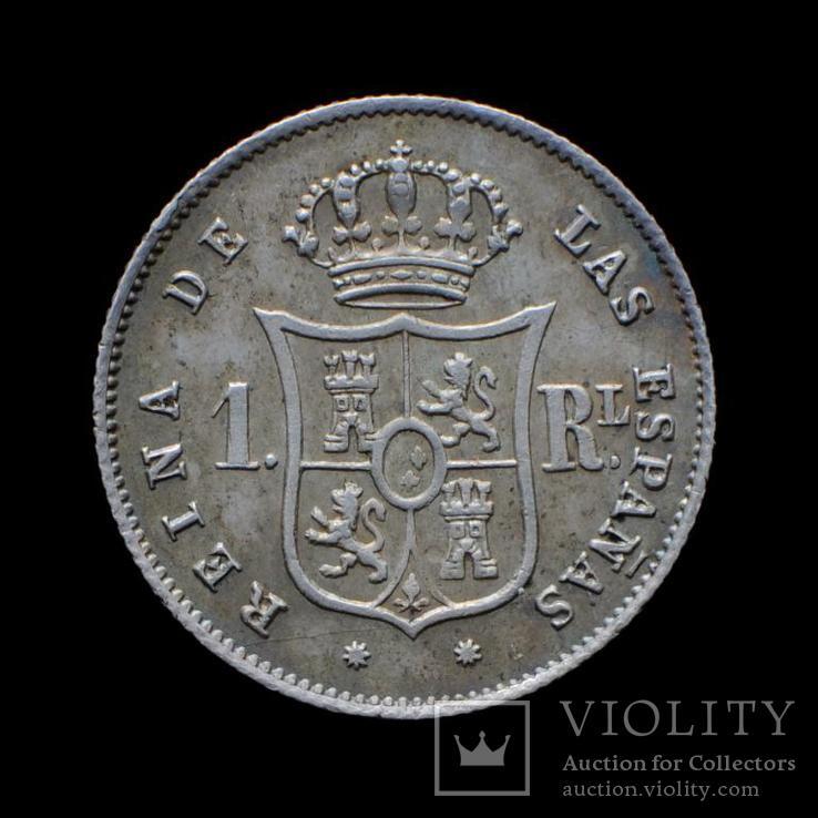 1 Реал 1861 Изабелла ІІ, Испания UNC, фото №3