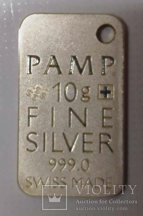 Швейцария, банковский номерной слиток, серебро 10 гр., коробка, сертификат, 646, фото №3