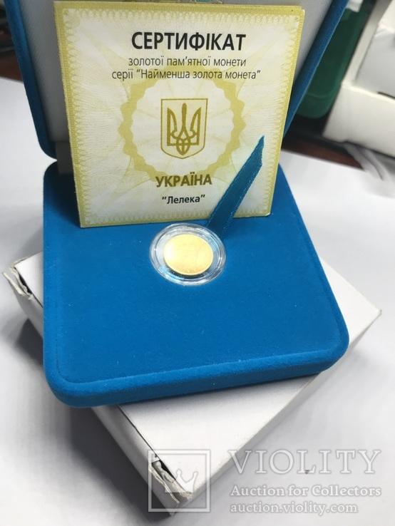 2 Гривны Аист Золото 999.9 пробы. / 2 гривні Лелека 2004 г  сертификат № 2425, фото №2