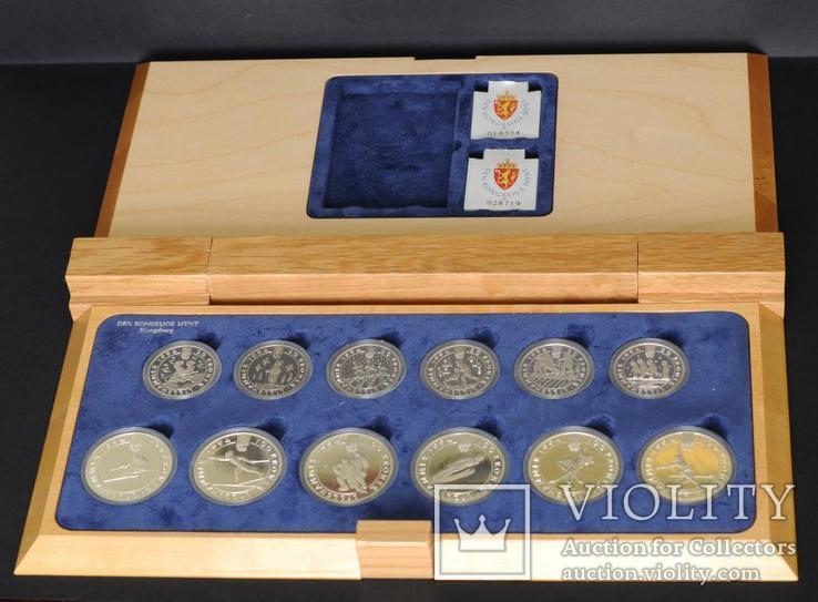 Набор 50 и 100 Крон Зимняя Олимпиада в Лиллехаммере, Норвегия В Родной Деревянной Коробке, фото №7