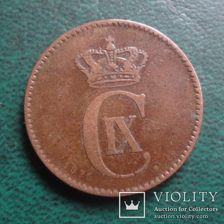 2 эре 1875    Дания    (,10.1.22)~, фото №2