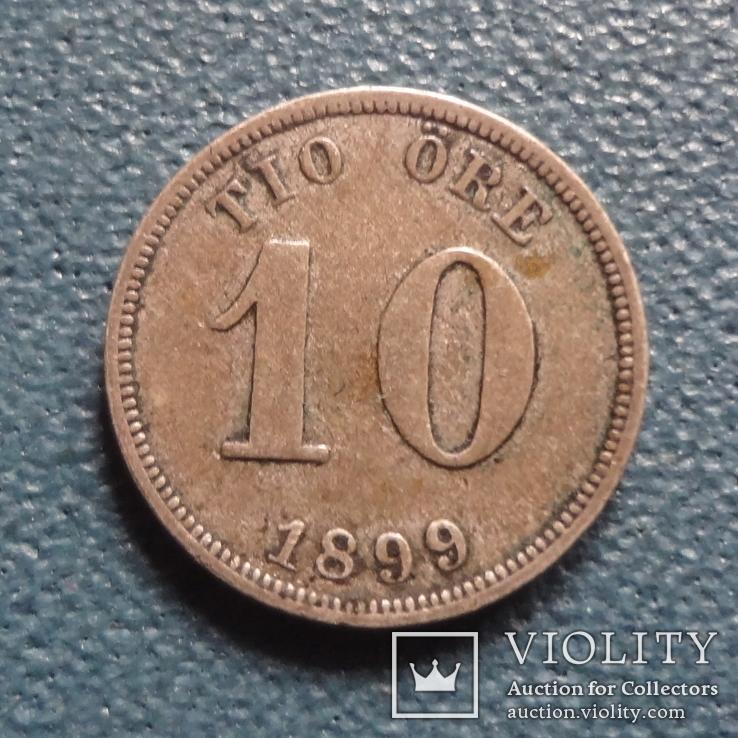 10 эре 1899  Швеция  серебро   (Z.3.5)~, фото №3