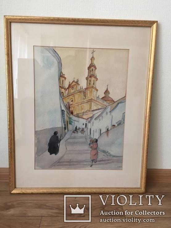 """Картина """"Православный собор"""", акварель на бумаге, подписная. Ориентир.начало 20 века., фото №2"""