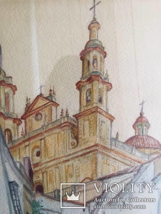 """Картина """"Православный собор"""", акварель на бумаге, подписная. Ориентир.начало 20 века., фото №3"""