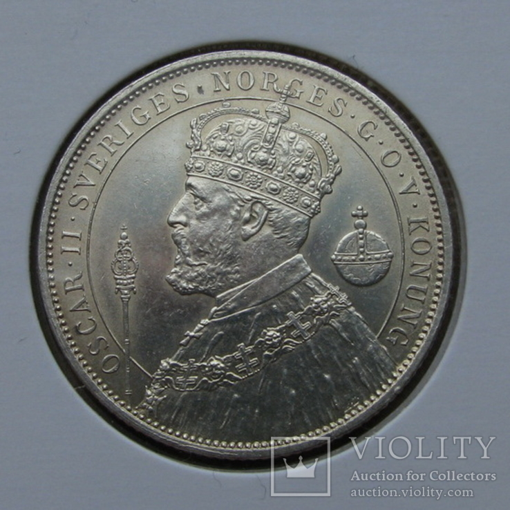 2 кроны 1897 Швеция(серебро) aUNC, фото №2