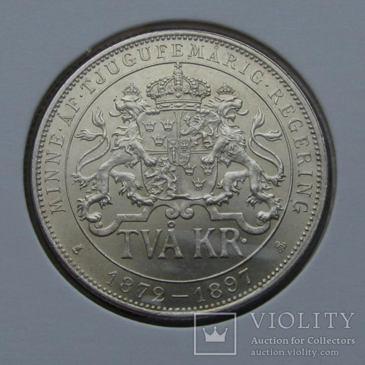 2 кроны 1897 Швеция(серебро) aUNC, фото №3