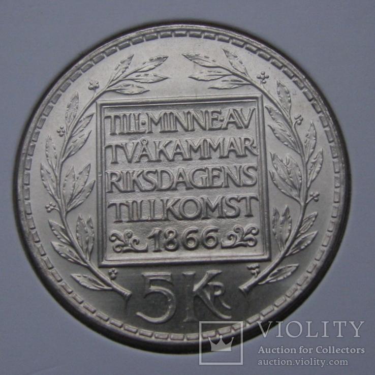 5 крон 1966. Швеция(серебро) aUNC, фото №3