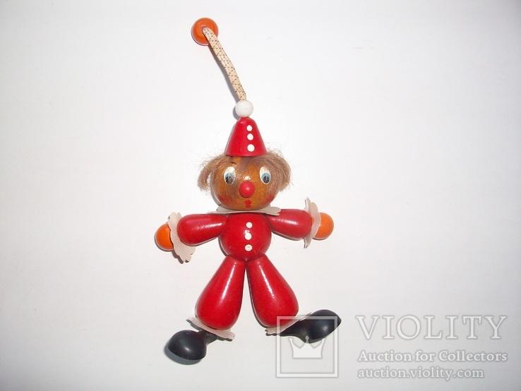 Деревянная игрушка-подвеска клоун СССР