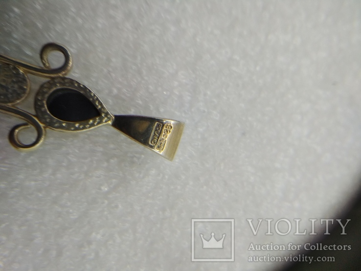 Кулон подвеска крест серебро 925 янтарь, фото №4
