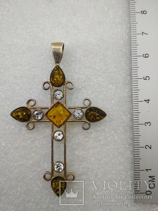 Кулон подвеска крест серебро 925 янтарь, фото №7