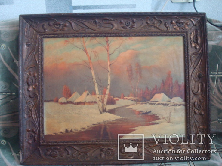 Картина,холст,масло, Зима,деревня,48/36см.50-е года, фото №2