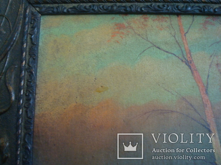 Картина,холст,масло, Зима,деревня,48/36см.50-е года, фото №3