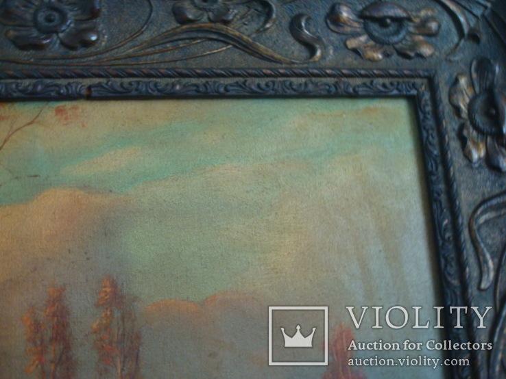 Картина,холст,масло, Зима,деревня,48/36см.50-е года, фото №5