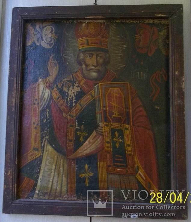 Святий Миколай /картина 18 ст/темпера/ домоткане полотно Поділля, фото №2