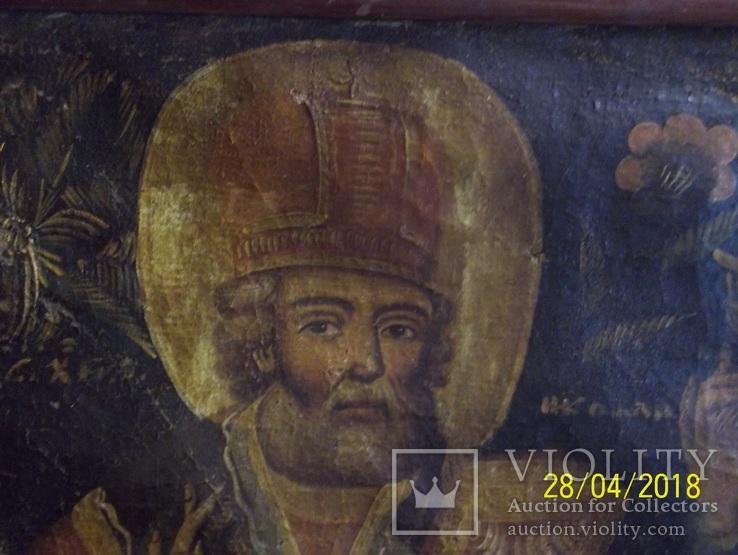Святі Миколай і Варвара/картина 18 ст./темпера/домоткане полотно. Поділля, фото №3