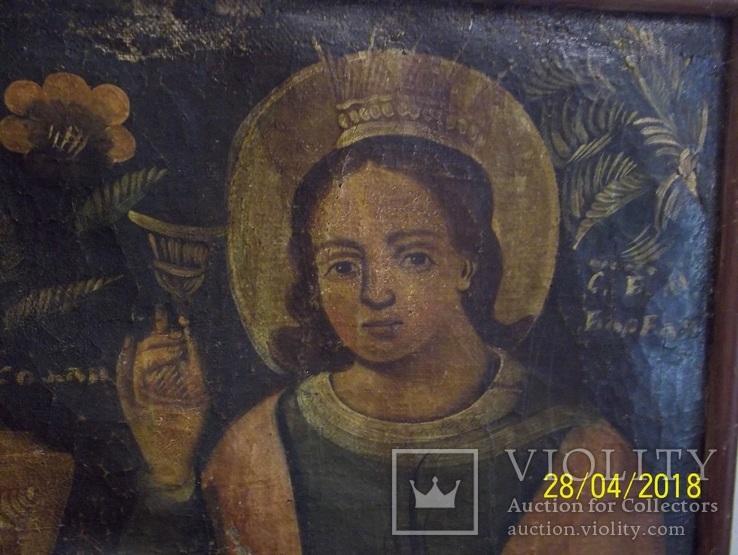 Святі Миколай і Варвара/картина 18 ст./темпера/домоткане полотно. Поділля, фото №4