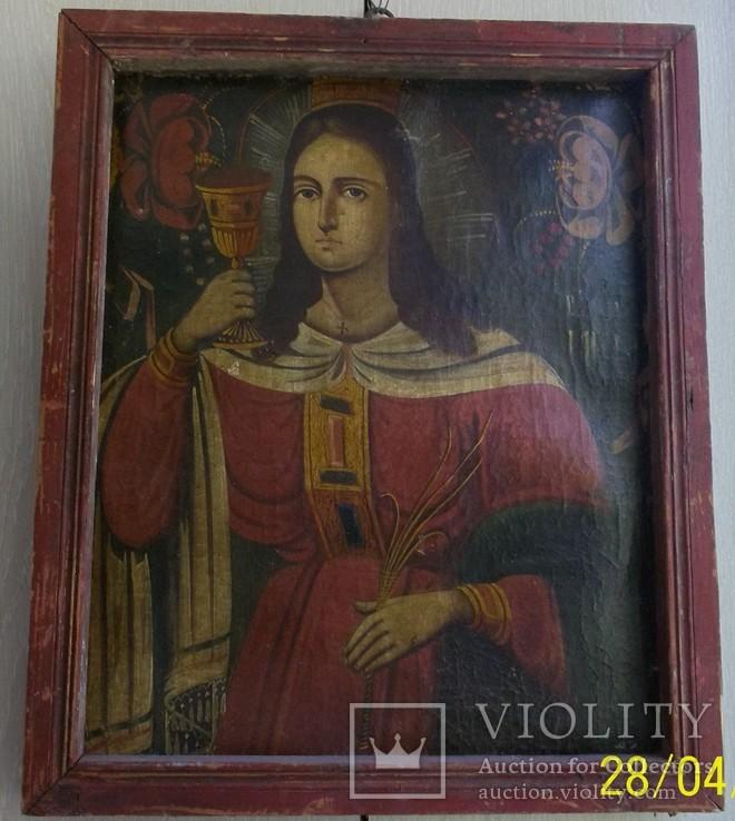 Свята Варвара /картина 18 ст/темпера/домоткане полотно. Подiлля, фото №2