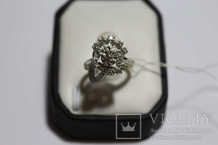 Золотое кольцо с бриллиантами в ретро стиле Арт-Деко, фото №3