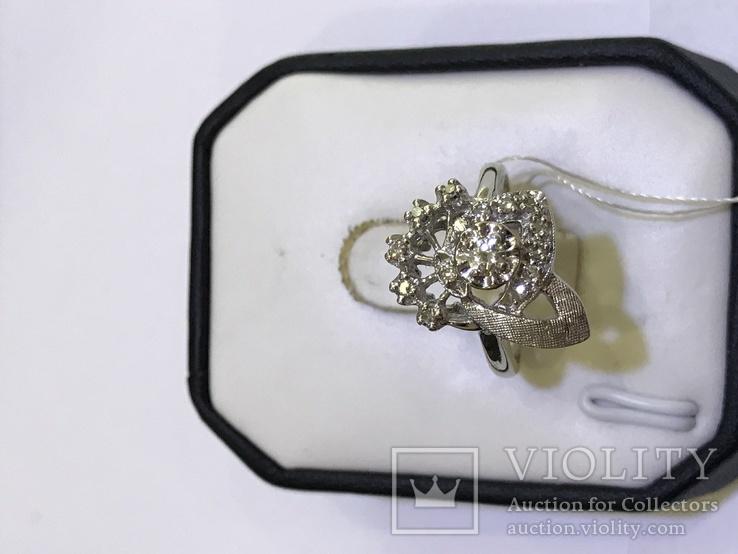 Золотое кольцо с бриллиантами в ретро стиле Арт-Деко, фото №5