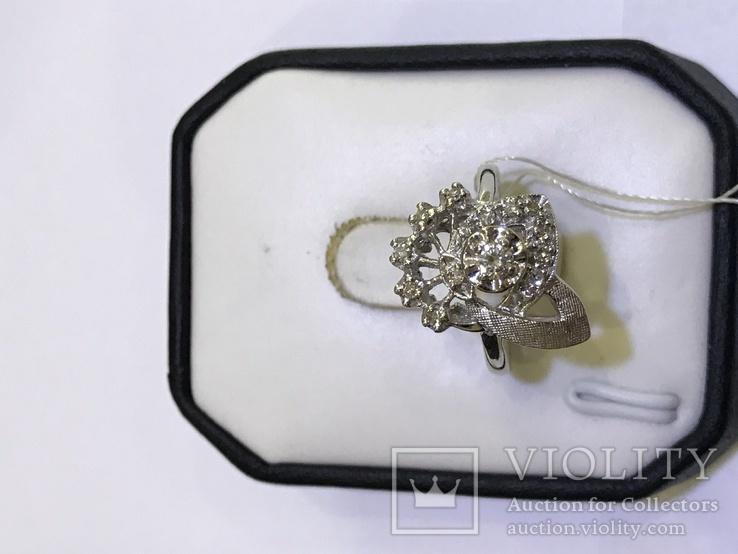 Золотое кольцо с бриллиантами в ретро стиле Арт-Деко, фото №6