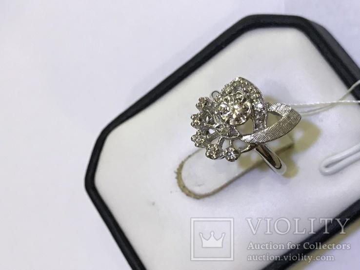 Золотое кольцо с бриллиантами в ретро стиле Арт-Деко, фото №7