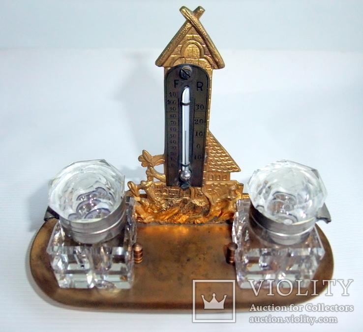 Чернильница. Письменный прибор с термометром. Европа ХІХ век., фото №3