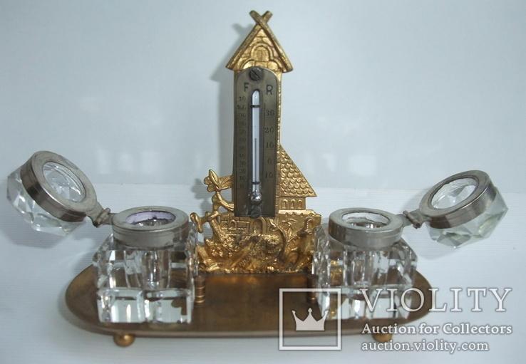 Чернильница. Письменный прибор с термометром. Европа ХІХ век., фото №4
