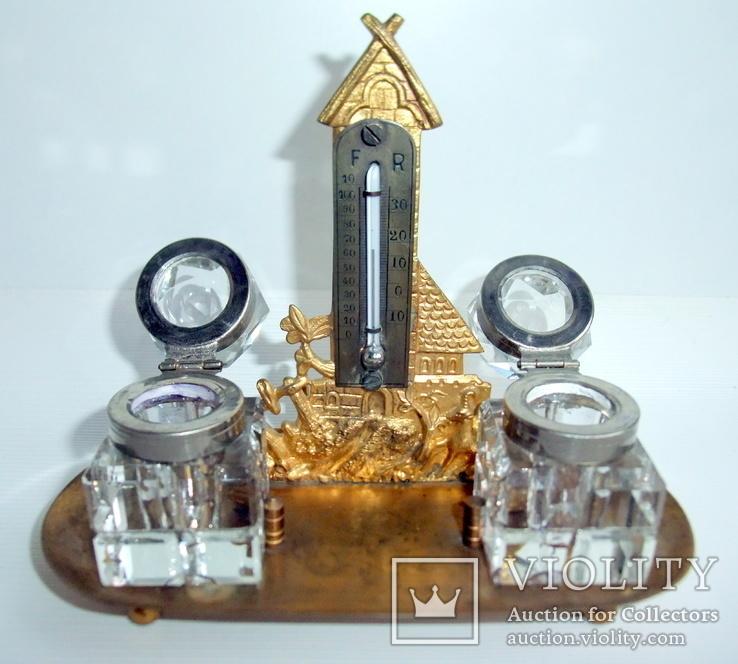 Чернильница. Письменный прибор с термометром. Европа ХІХ век., фото №13