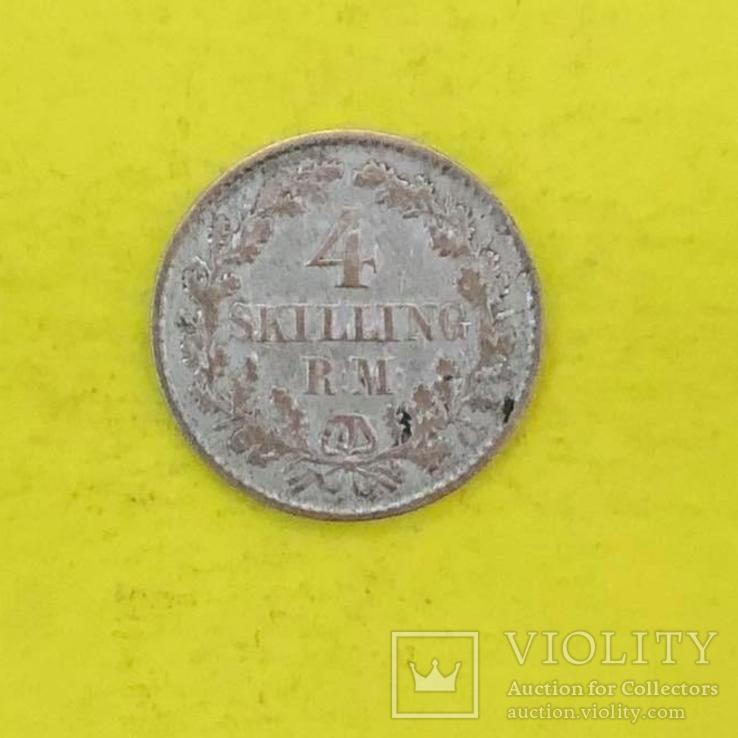 Данія 4 скіллінг-рігсмента, 1854р. Срібло., фото №2