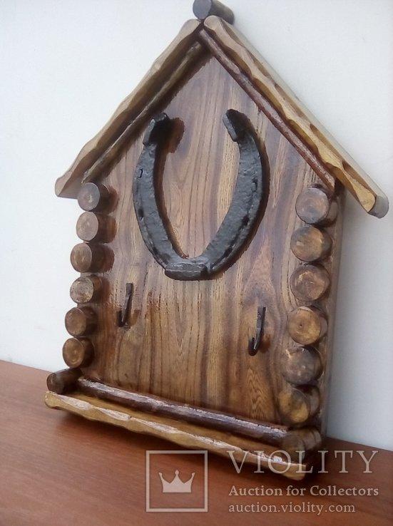 Авторская ключница «Счастливый Теремок» из натурального дерева., фото №3