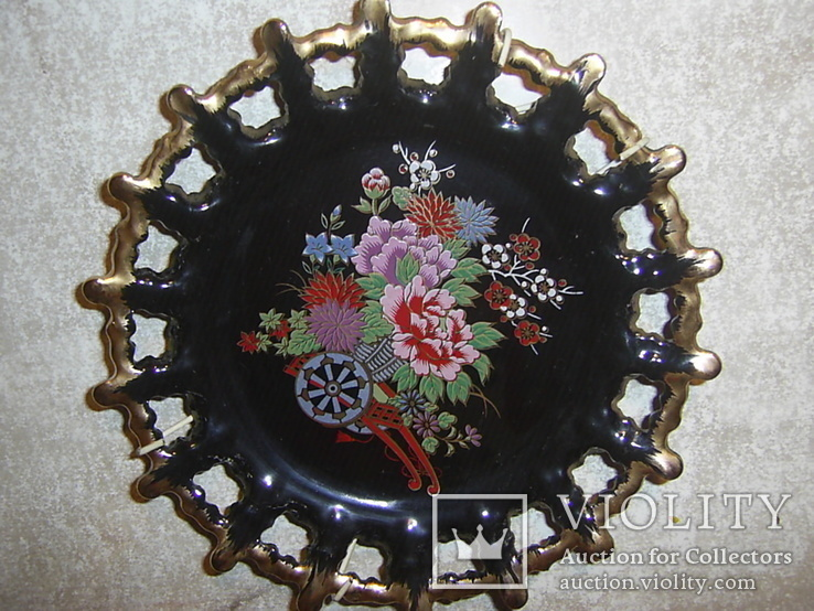 Настенная декоративная тарелка. чёрная глазурь Европа, фото №2