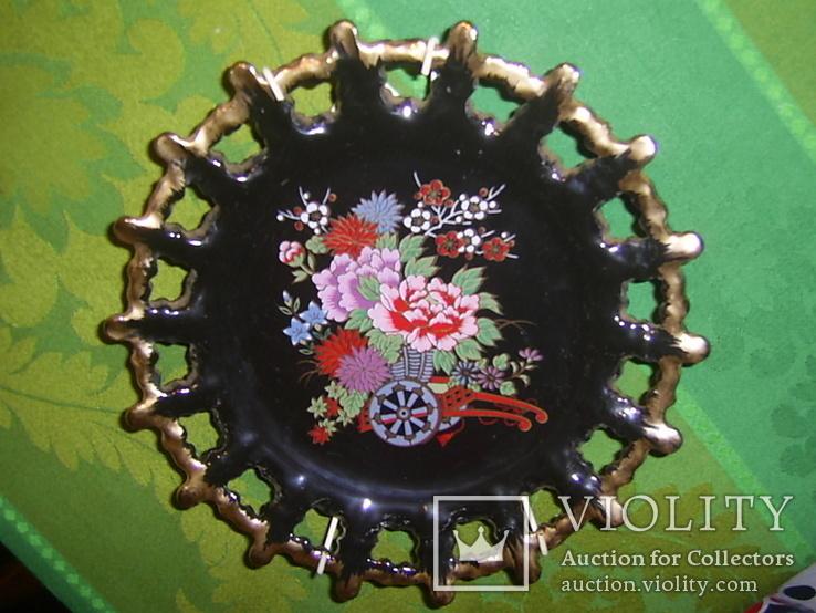 Настенная декоративная тарелка. чёрная глазурь Европа, фото №3