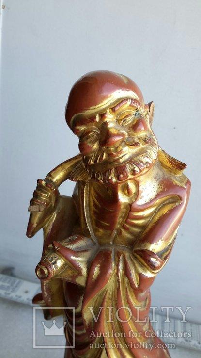 Статуэтка старинная Китай дерево,краска,сусальное золото, фото №3