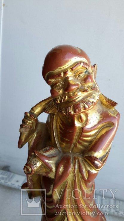 Статуэтка старинная Китай дерево,краска,сусальное золото, фото №4