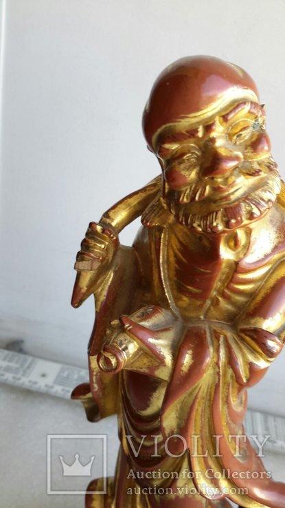 Статуэтка старинная Китай дерево,краска,сусальное золото, фото №5