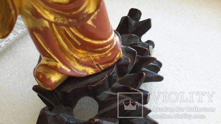 Статуэтка старинная Китай дерево,краска,сусальное золото, фото №13