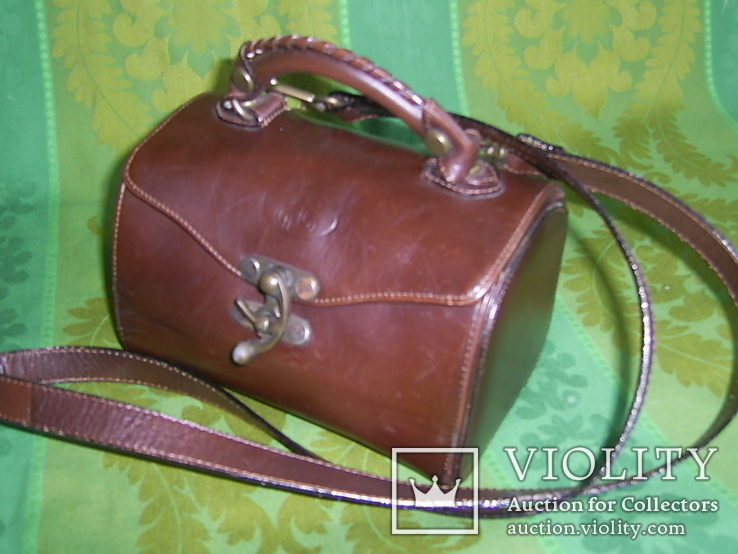 Сумочка-саквояжик винтажная кожаная, фото №2