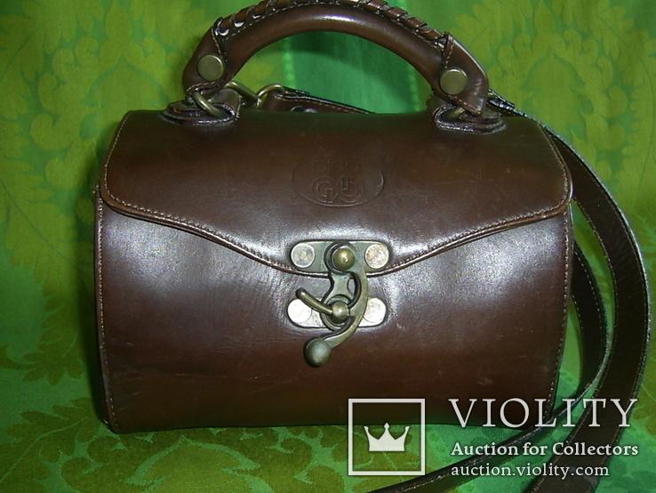 Сумочка-саквояжик винтажная кожаная, фото №12