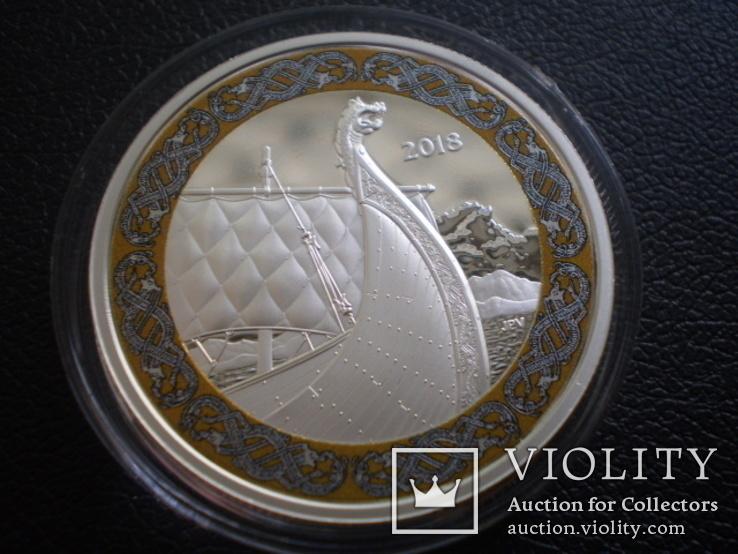 Канада Банковская упаковка 2018 Корабль парусник Викинги серебро сертификат футляр, фото №3