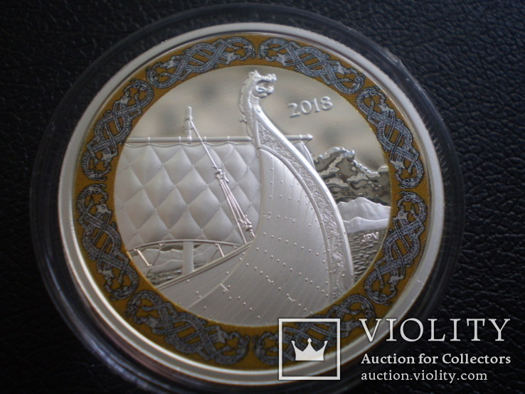 Канада Банковская упаковка 2018 Корабль парусник Викинги серебро сертификат футляр, фото №6
