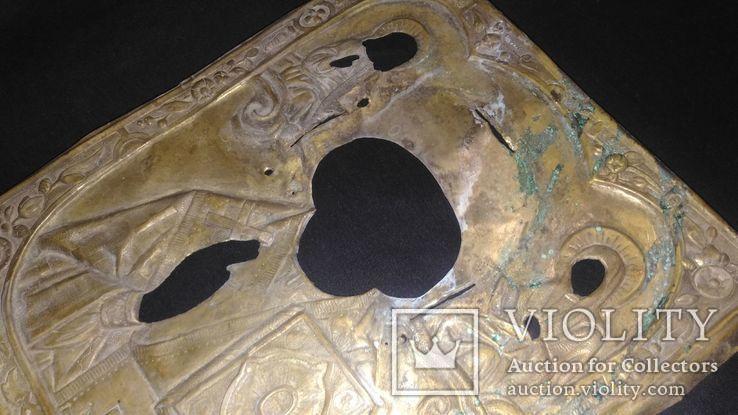 Рельефный латунный оклад на Николая 22х26,5см., фото №7