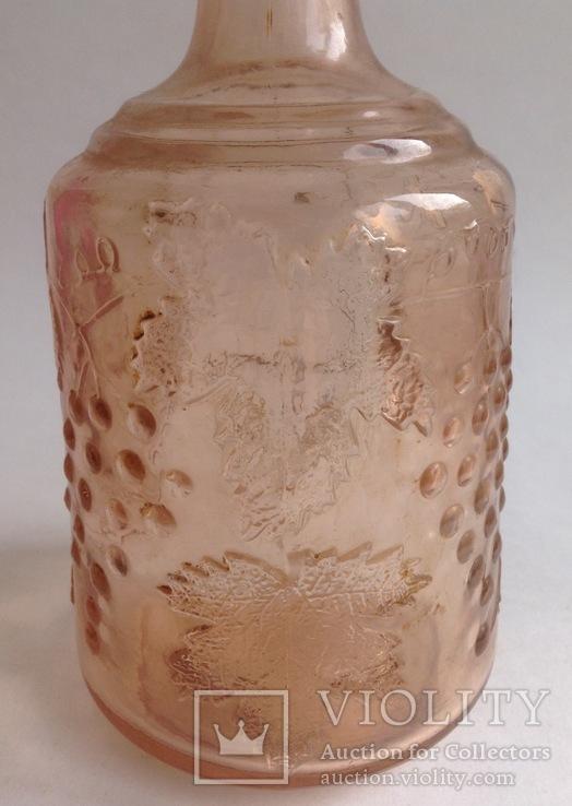 Графин для вина с оригинальной круглой пробкой. Розовое/марганцевое стекло. 1.5 л., фото №6
