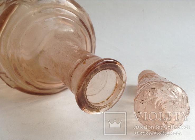 Графин для вина с оригинальной круглой пробкой. Розовое/марганцевое стекло. 1.5 л., фото №8