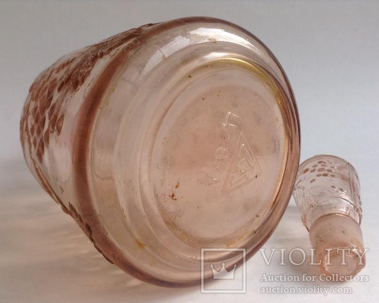 Графин для вина с оригинальной круглой пробкой. Розовое/марганцевое стекло. 1.5 л., фото №9