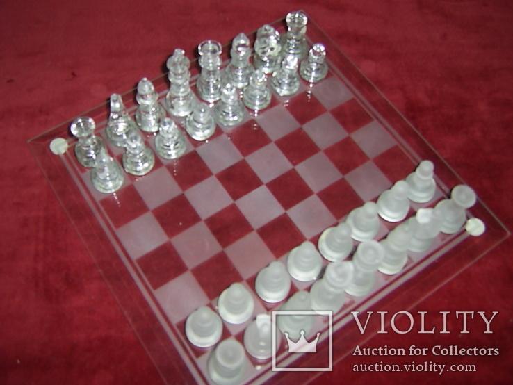 Комплект стеклянных шахмат со стеклянной доской  Англия в родной упаковке, фото №2